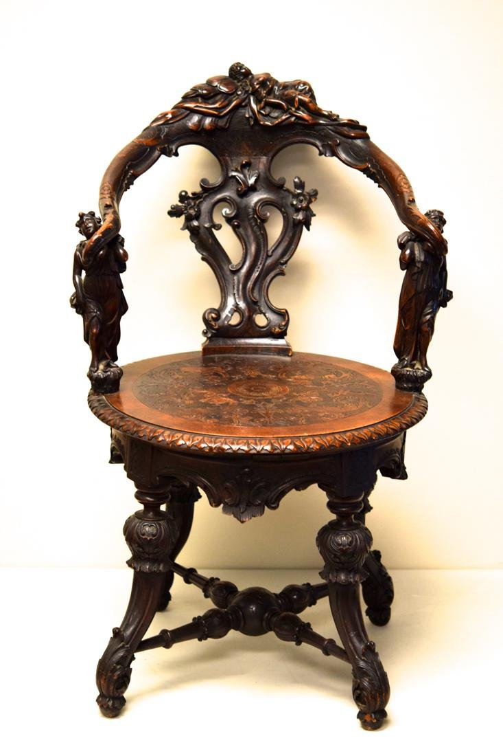 Rare Antique European Chair with Nude