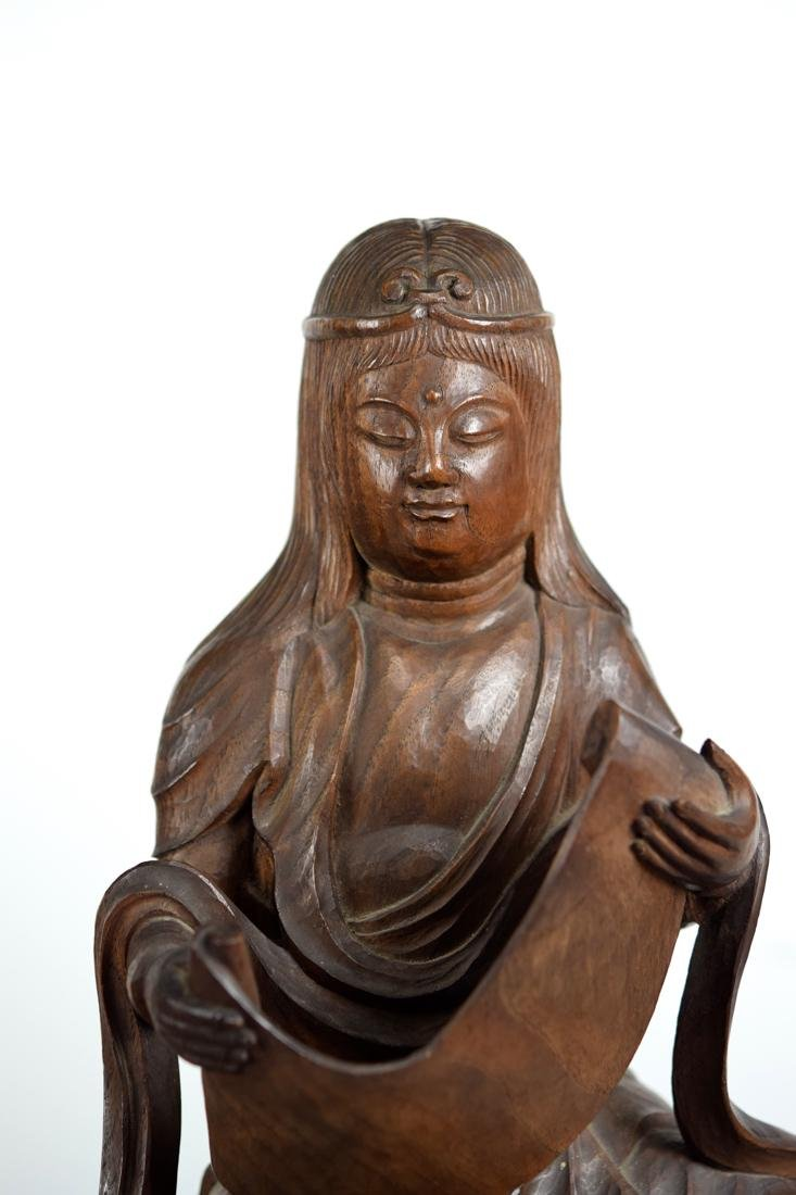 Japanese Carved Wood Kuanyin on Elephant - 2