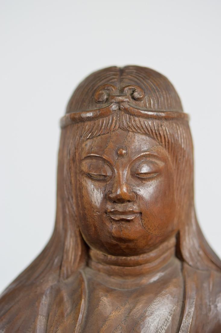Japanese Carved Wood Kuanyin on Elephant - 3