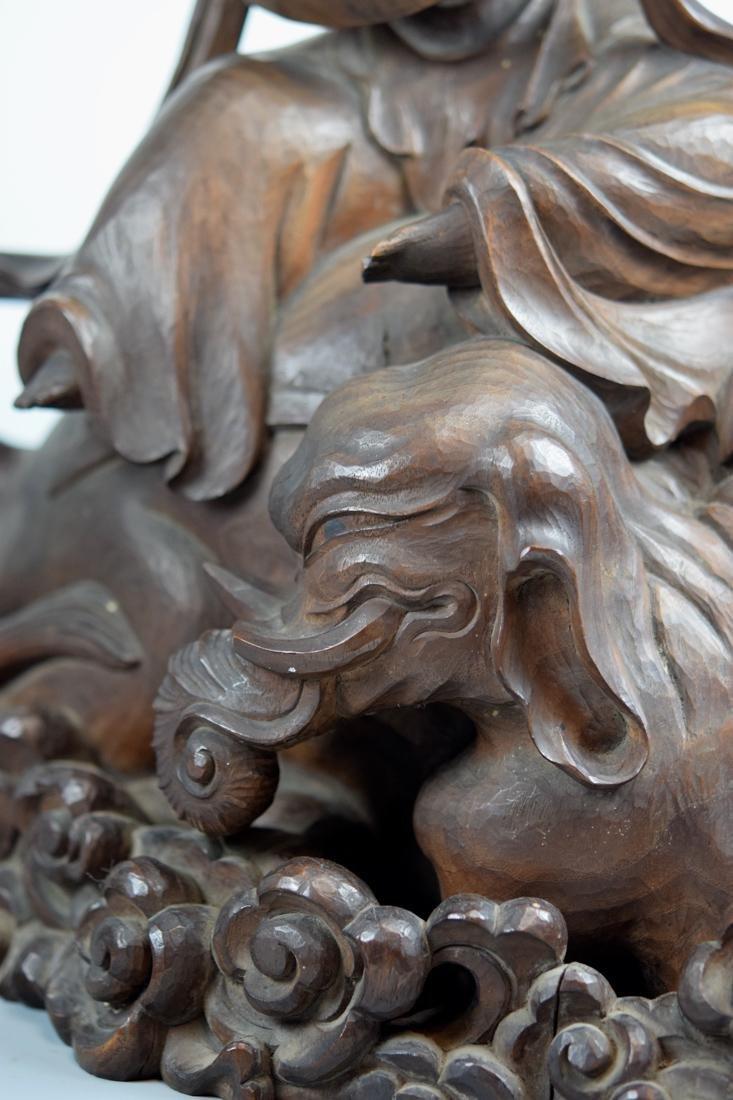 Japanese Carved Wood Kuanyin on Elephant - 7