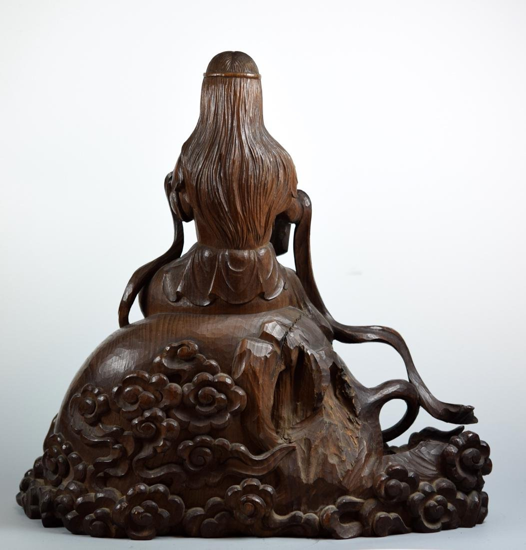 Japanese Carved Wood Kuanyin on Elephant - 9