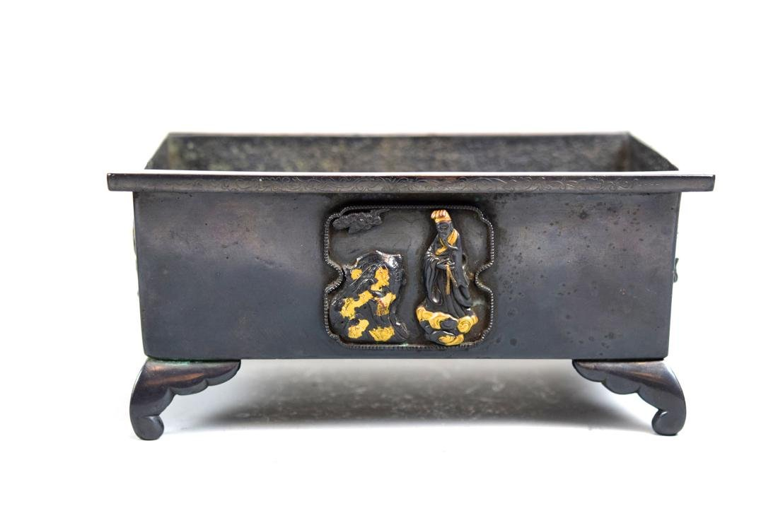 Chinese Bronze Planter with Gilt Scholar