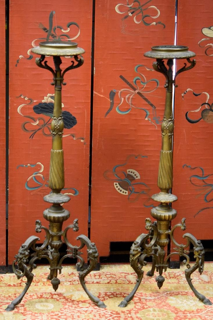 Large Pair French Bronze Floor Candle Holder - 2