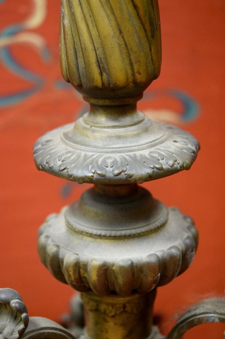 Large Pair French Bronze Floor Candle Holder - 4