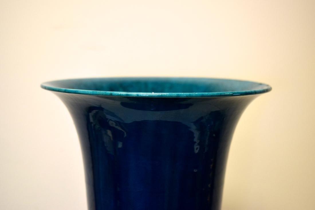 Massive Chinese Yenyen Porcelain Vase with Peacock Blue - 2