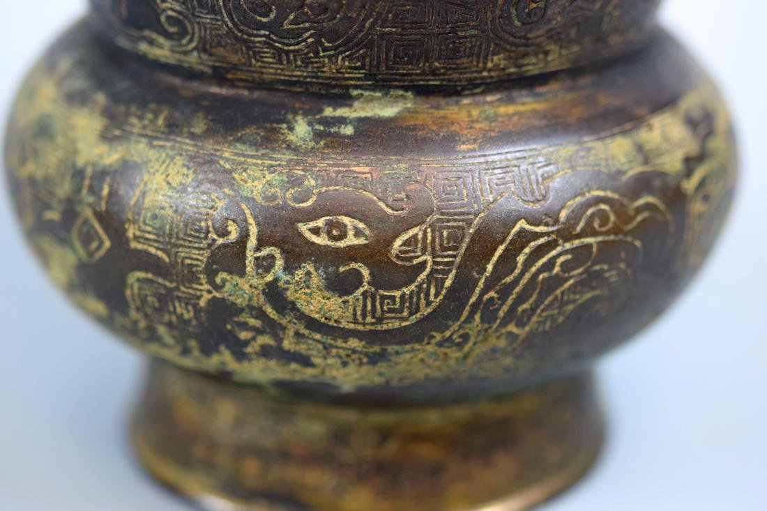 Chinese Song Yuan Bronze Vase with Archaic Form - 2