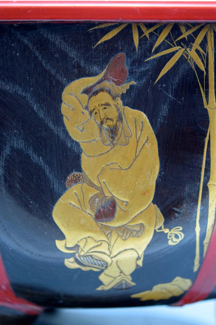 Japanese Lacquer Planeter with Immortal Scene - 4