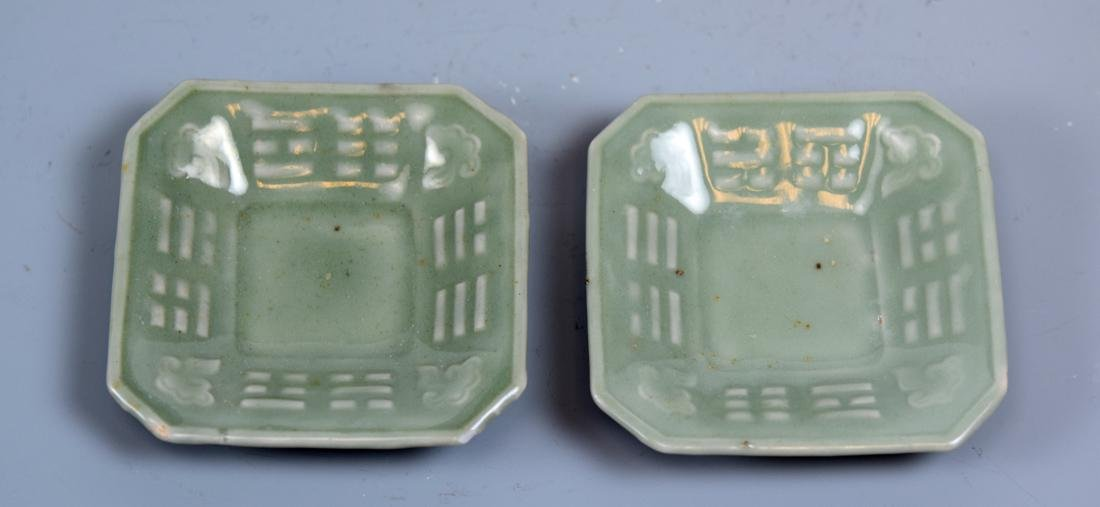Pair Chinese Celadon Porcelain Dishes