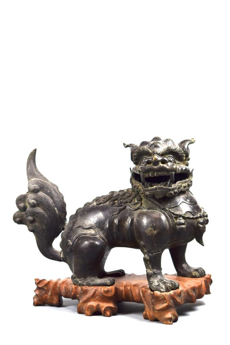 Pair Chinese Ming Bronze Foolions with Rosewood Base - 2