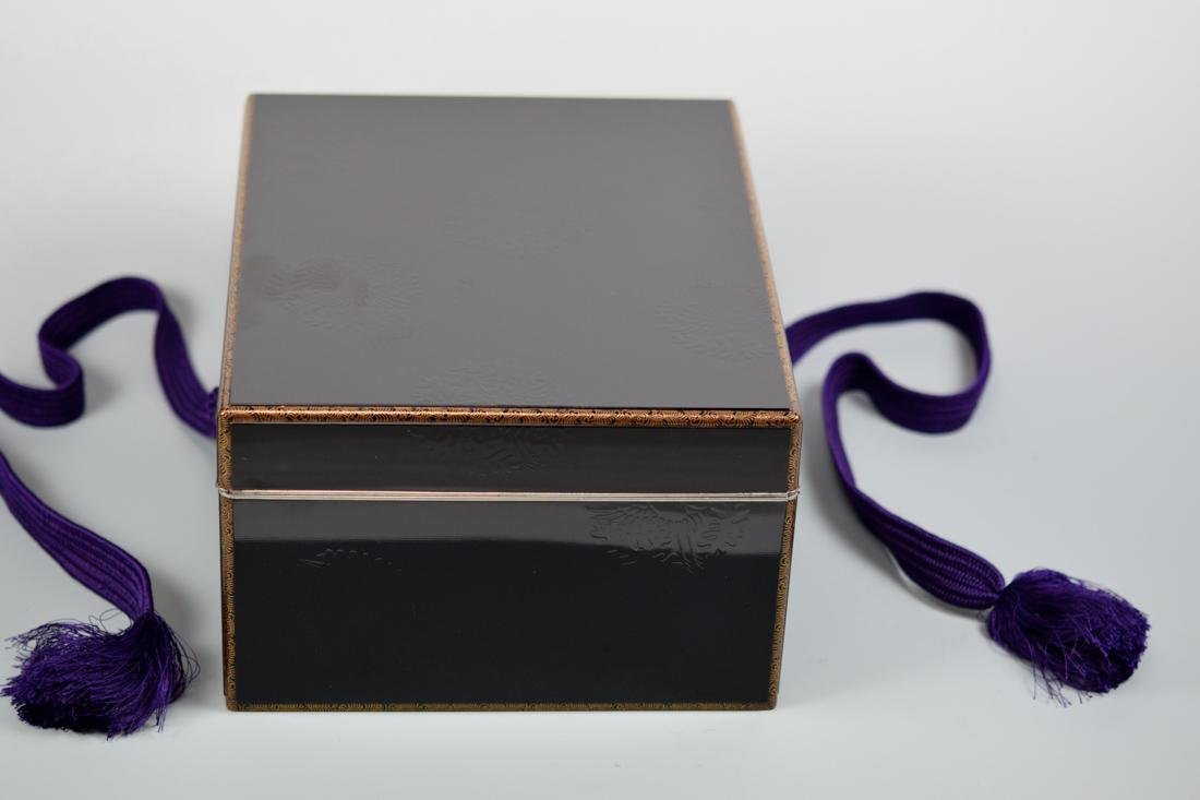 Japanese Lacquer Box with Silver Rim