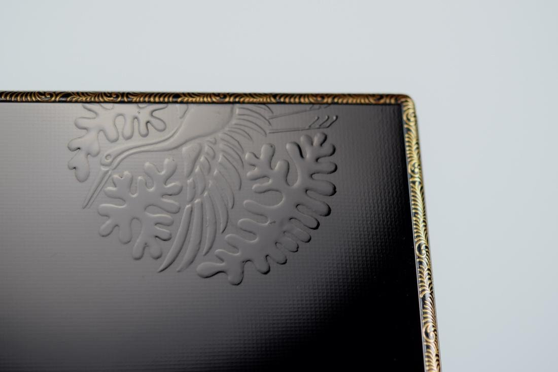 Japanese Lacquer Box with Silver Rim - 5