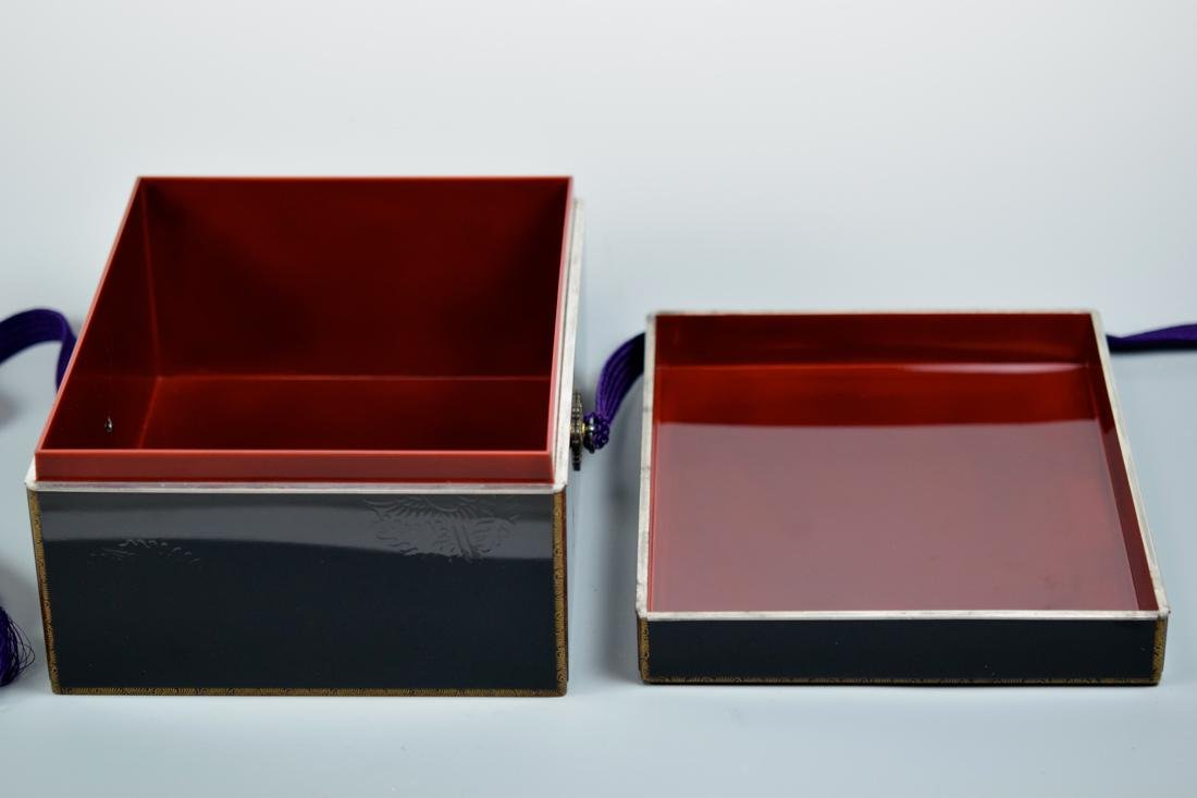 Japanese Lacquer Box with Silver Rim - 6
