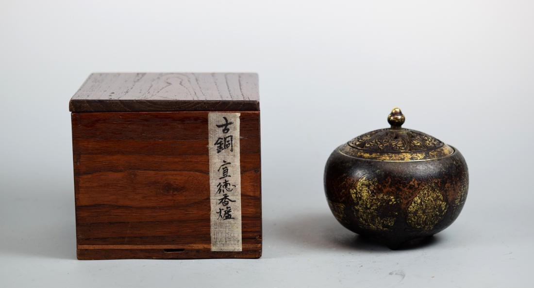 Chinese Bronze Censer with Box