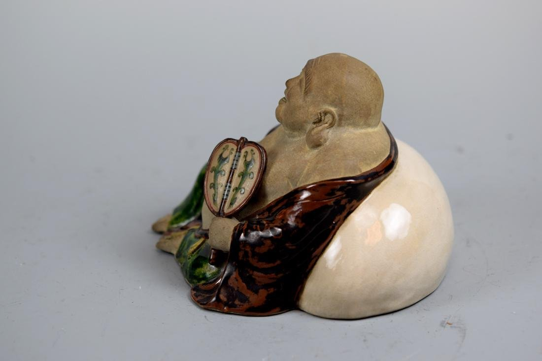 Japanese Pottery Hotei with Fan - 5