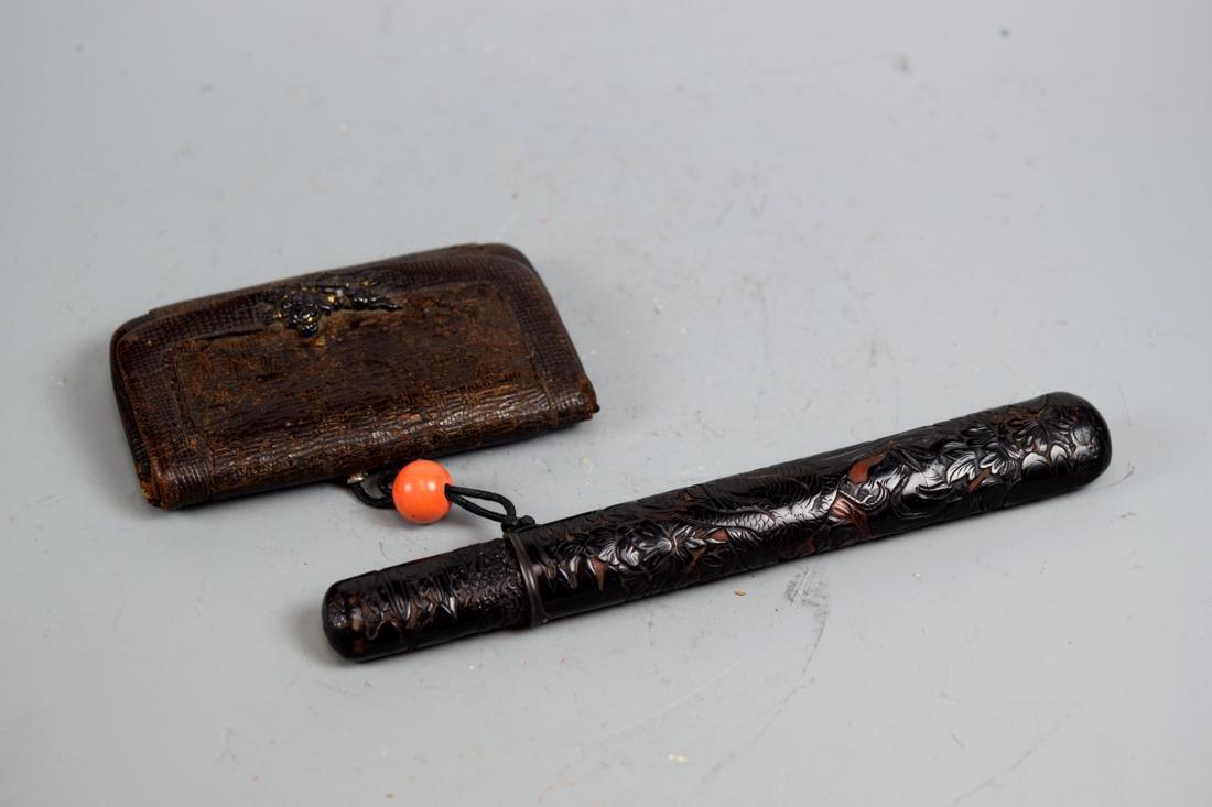 Japanese Cinnebar Pipe Case Set