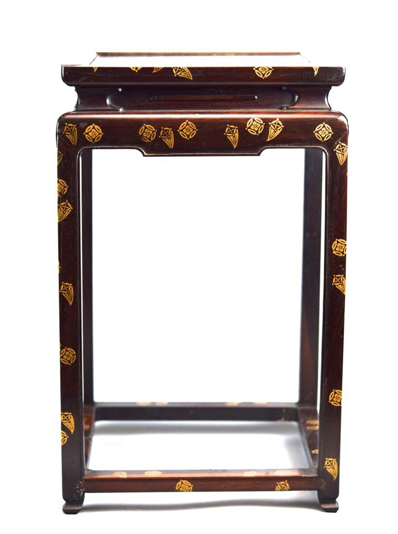 Japanese Rosewood Stand with Gold Lacquer Landscape