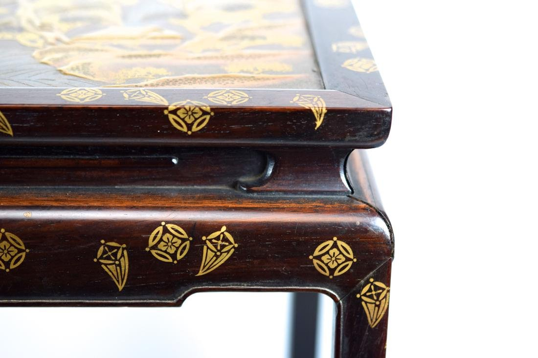 Japanese Rosewood Stand with Gold Lacquer Landscape - 2
