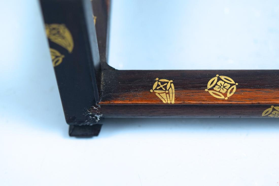 Japanese Rosewood Stand with Gold Lacquer Landscape - 3