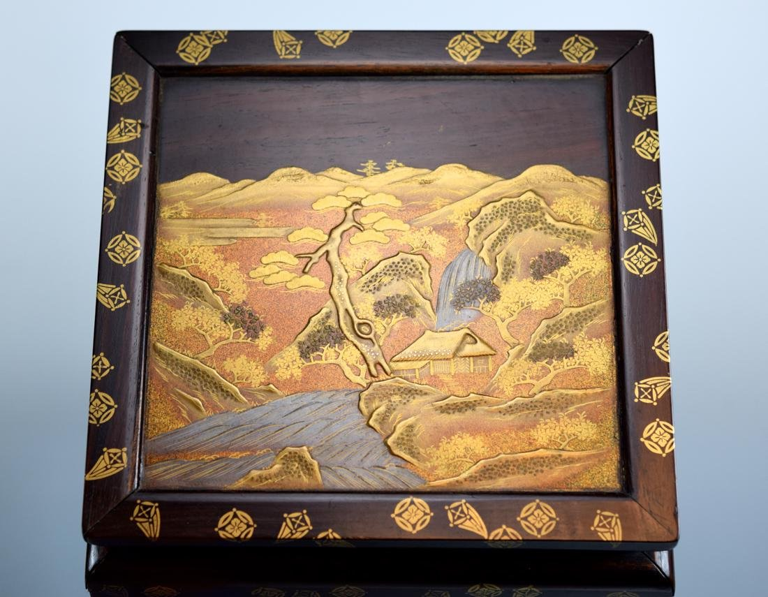 Japanese Rosewood Stand with Gold Lacquer Landscape - 4
