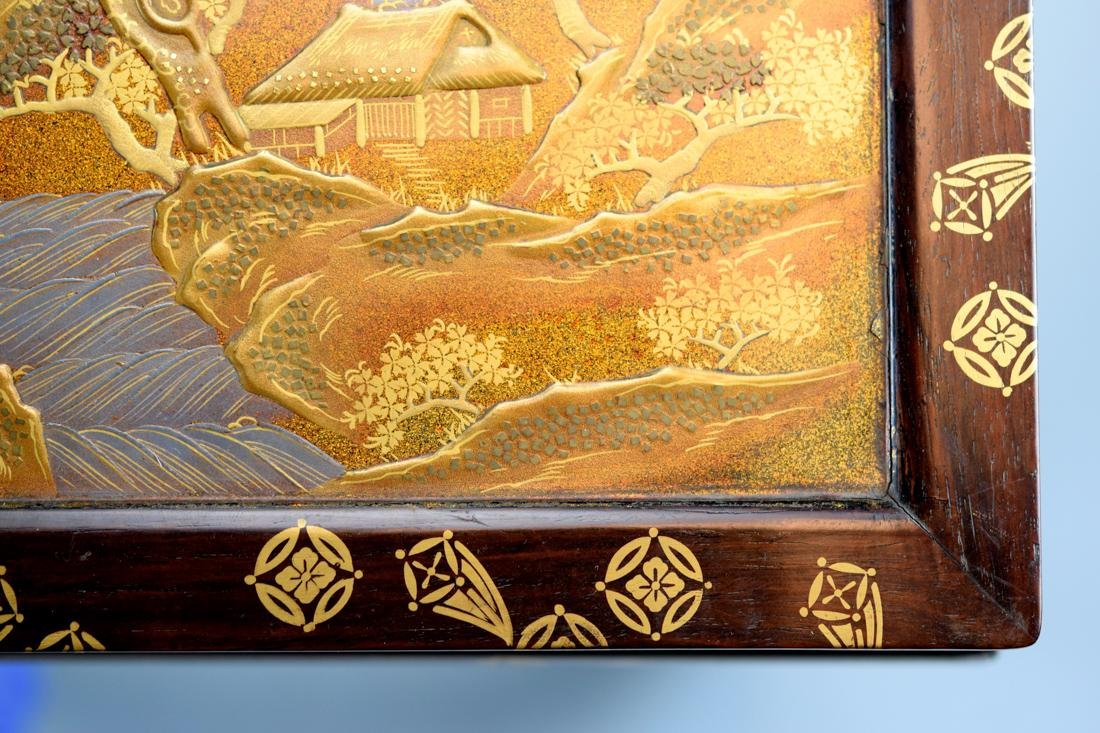 Japanese Rosewood Stand with Gold Lacquer Landscape - 5