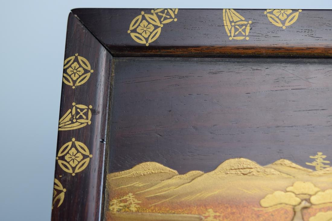 Japanese Rosewood Stand with Gold Lacquer Landscape - 8