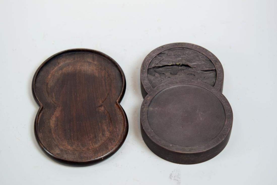 Chinese Inkstone with Rosewood Cover - Poem