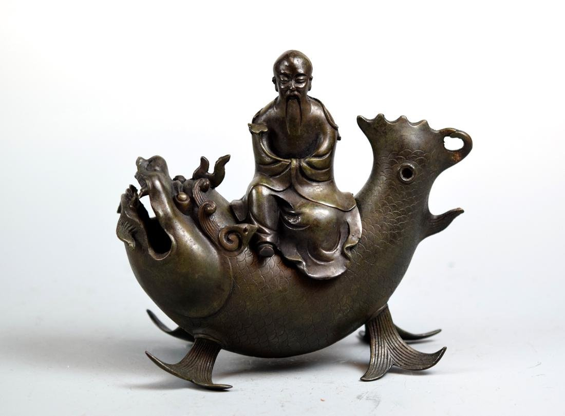 Chinese Bronze Shoulao on Dragon Fish