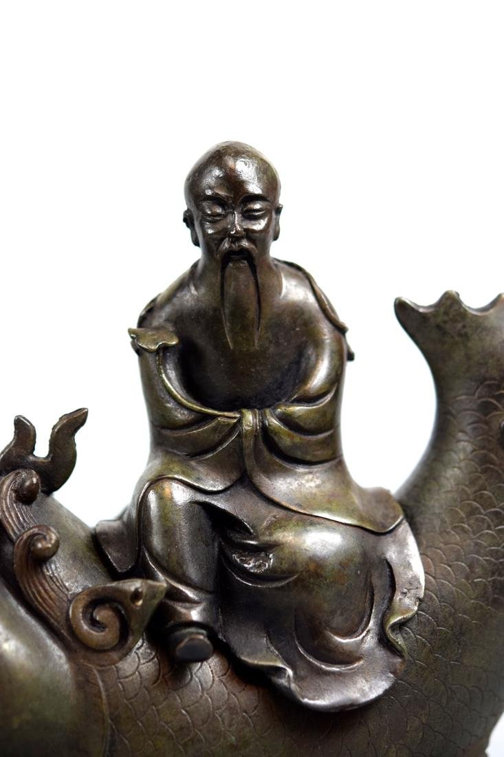 Chinese Bronze Shoulao on Dragon Fish - 2
