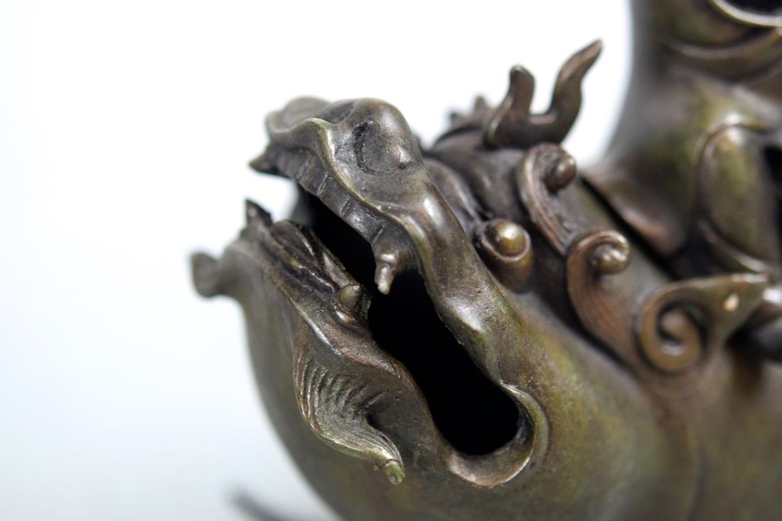 Chinese Bronze Shoulao on Dragon Fish - 4