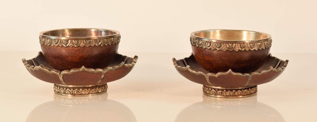 Pair Tibetan Silver and Wood Ceremonial Lotus Bowls