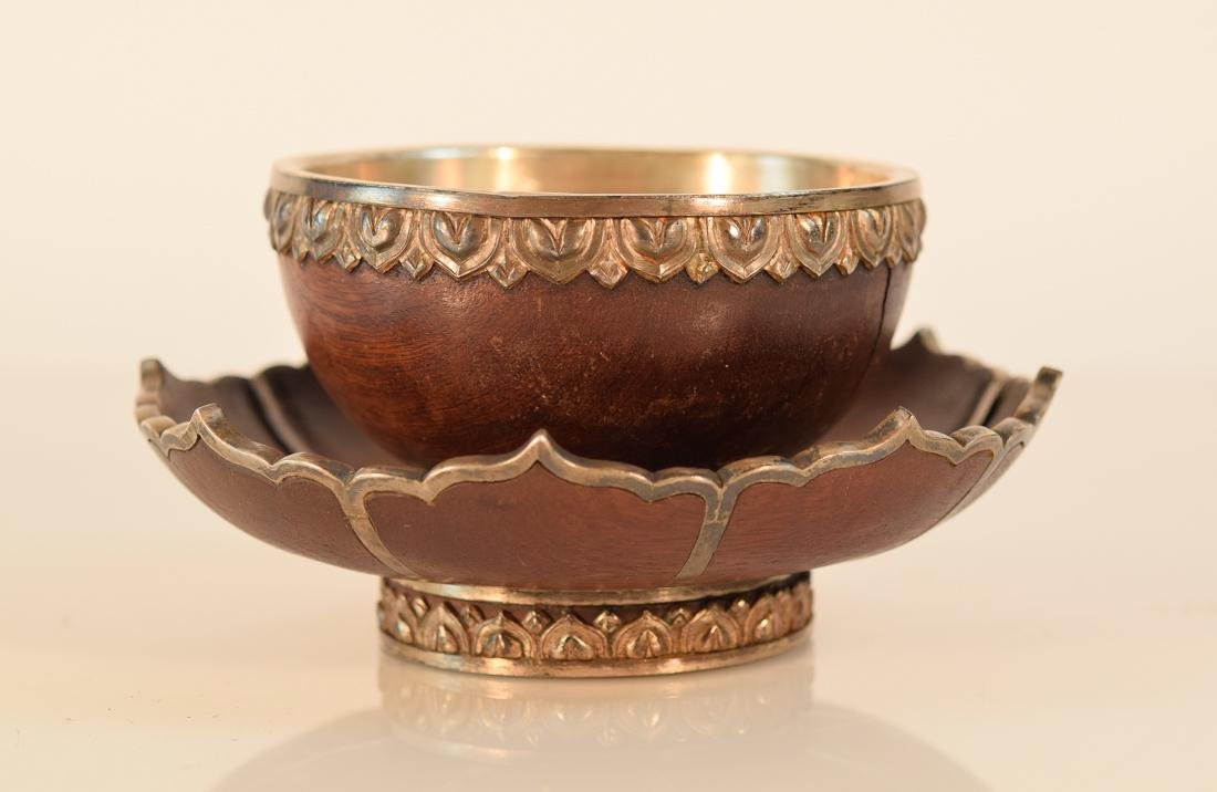 Pair Tibetan Silver and Wood Ceremonial Lotus Bowls - 2