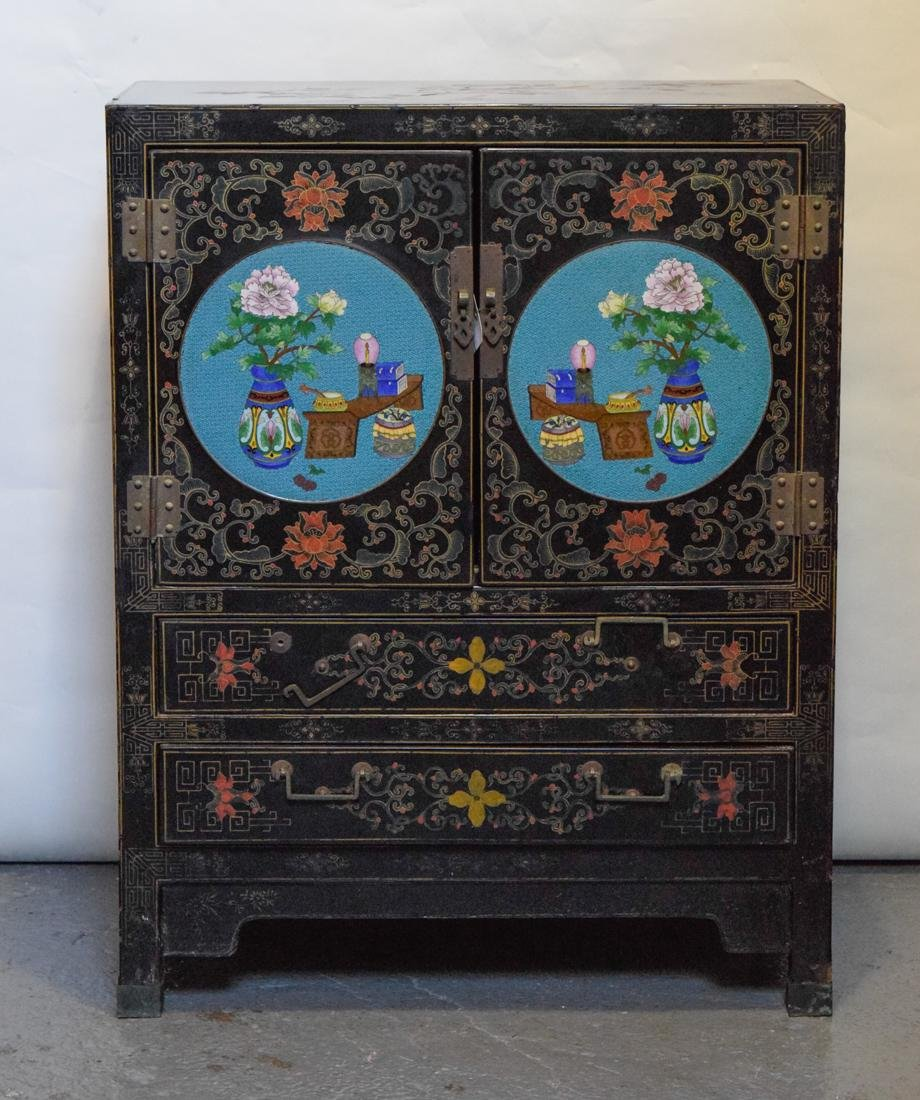 Chinese Lacquer Cabinet with Cloisonné Plaque