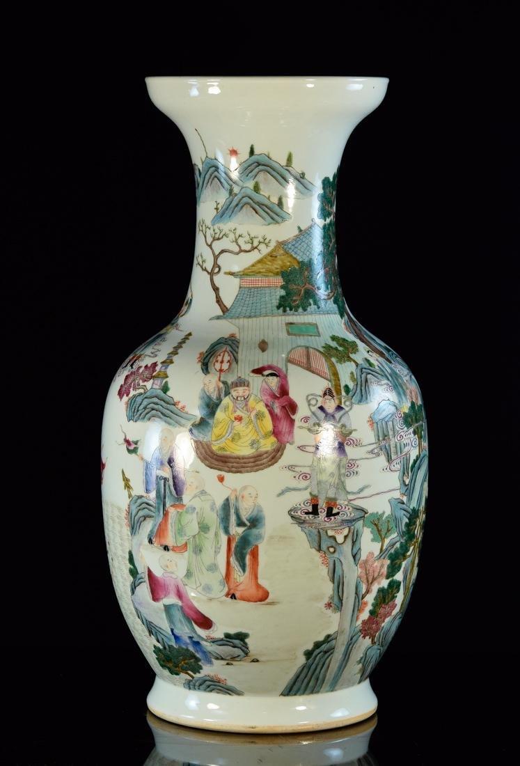 Large Chinese Famile Rose Porcelain Vase - Figural