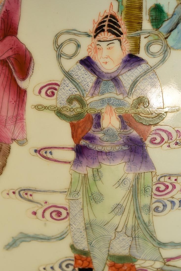Large Chinese Famile Rose Porcelain Vase - Figural - 3