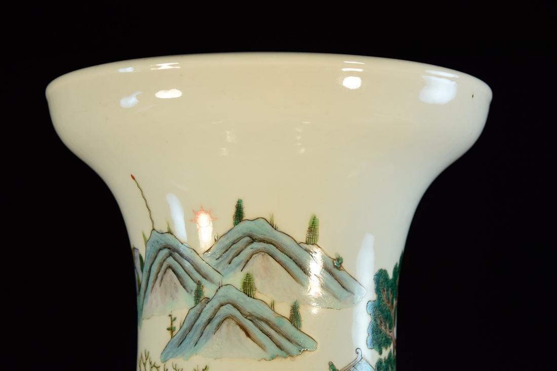 Large Chinese Famile Rose Porcelain Vase - Figural - 5