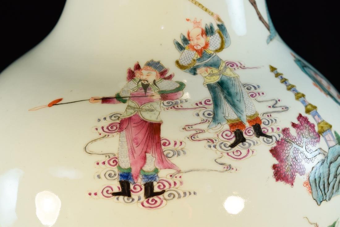 Large Chinese Famile Rose Porcelain Vase - Figural - 8