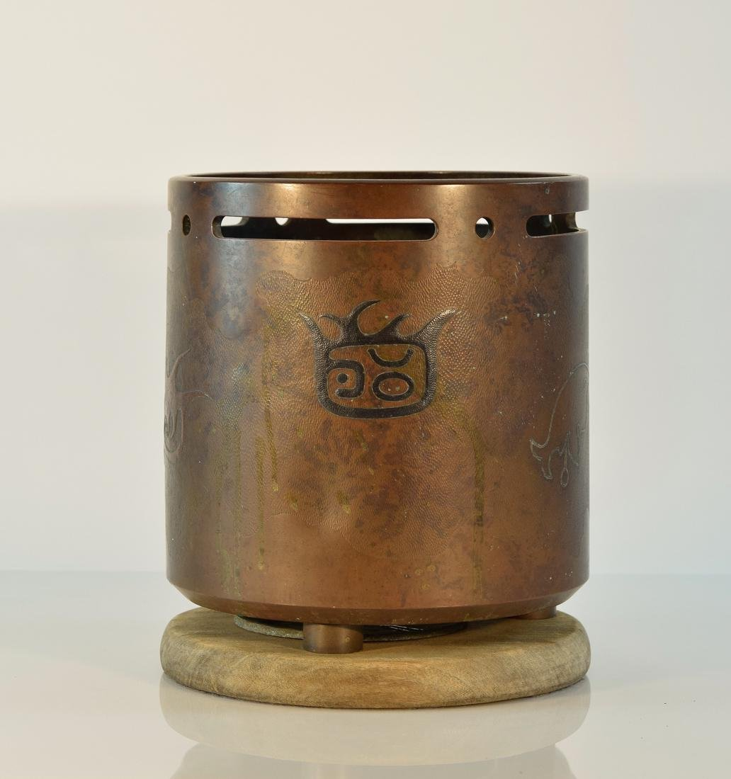 Japanese Clydrical Bronze Hibachi with Mixed Metal