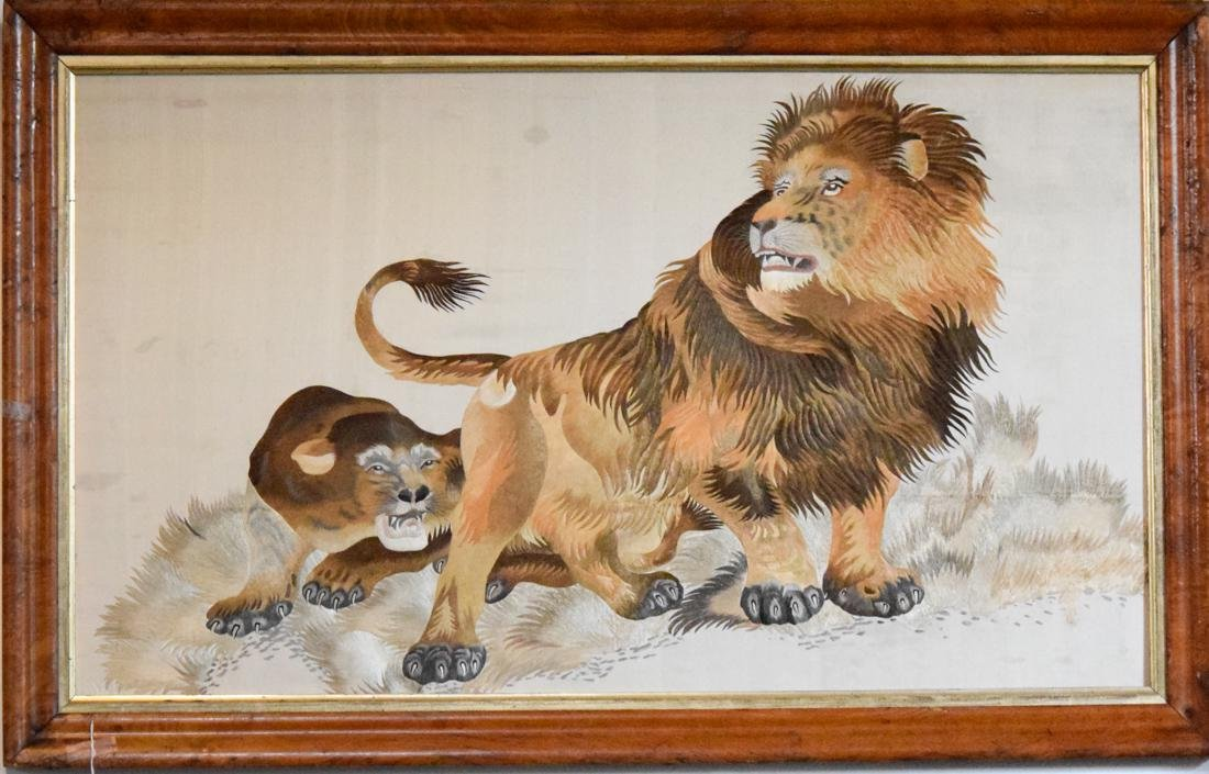 Stunning Chinese Embroidery of a Lion Family