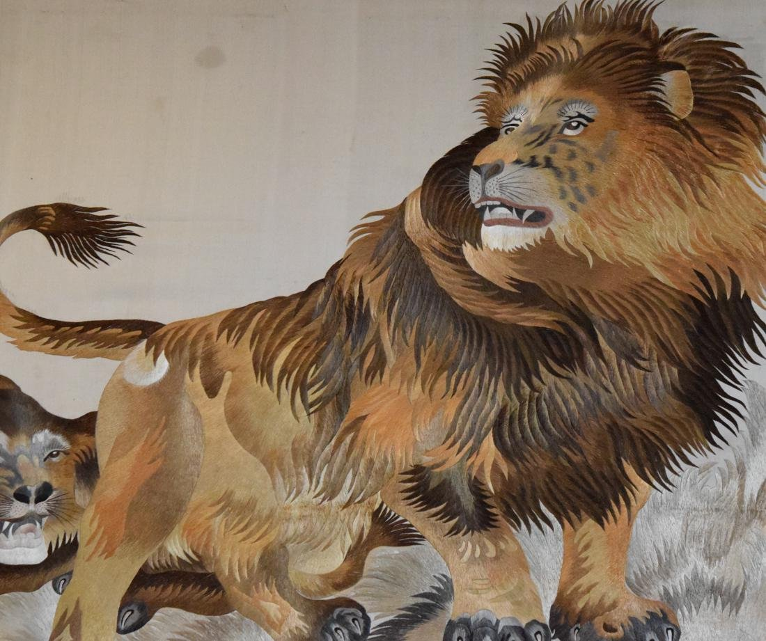 Stunning Chinese Embroidery of a Lion Family - 3