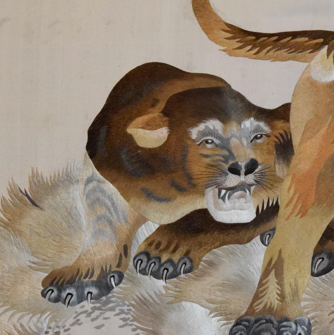 Stunning Chinese Embroidery of a Lion Family - 5
