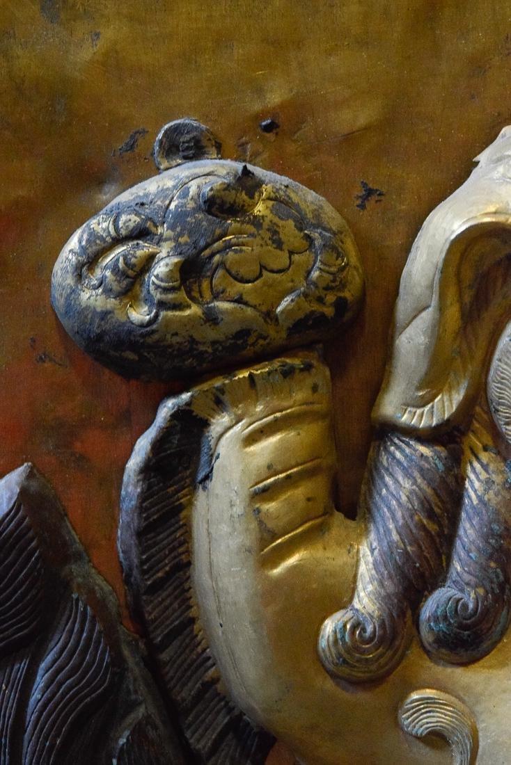 Tibetan Repousse Plaque of Buddhist Lion - 6