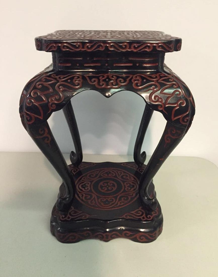 Chinese Guri Lacquer Censer Stand