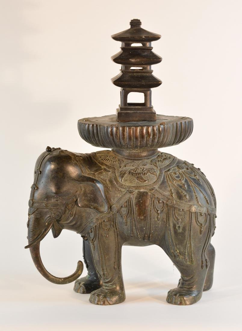 Large Chinese Bronze Elephant