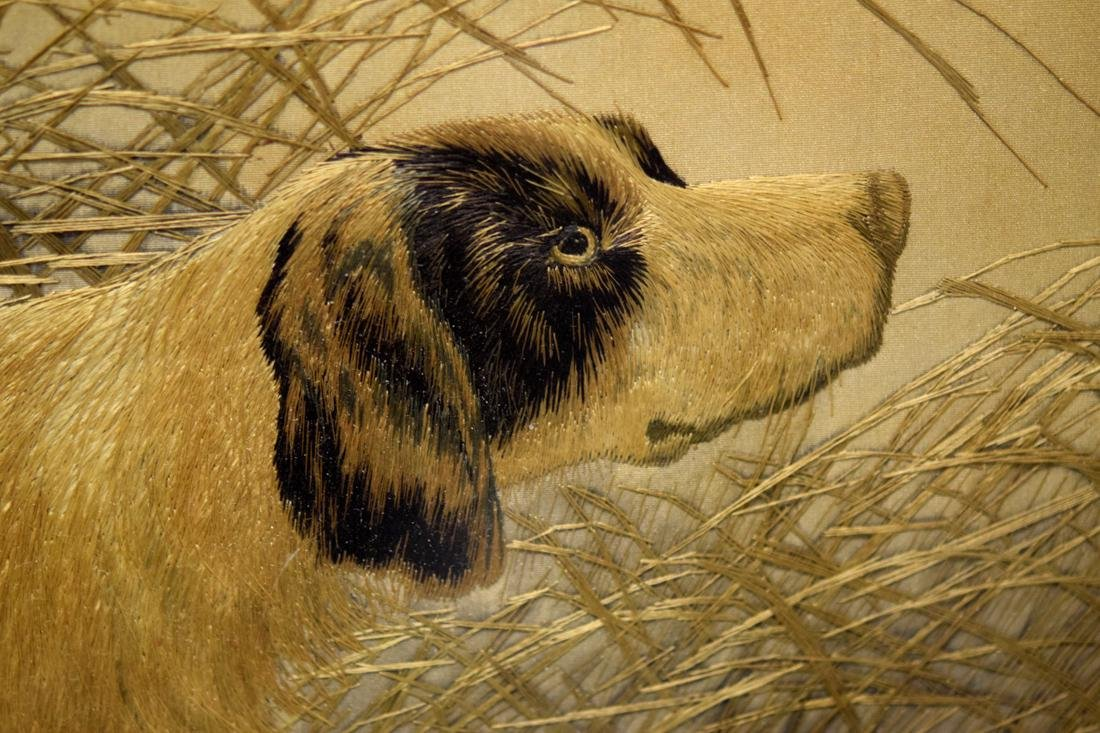 Japanese Embroidery of Dog Scene - 5