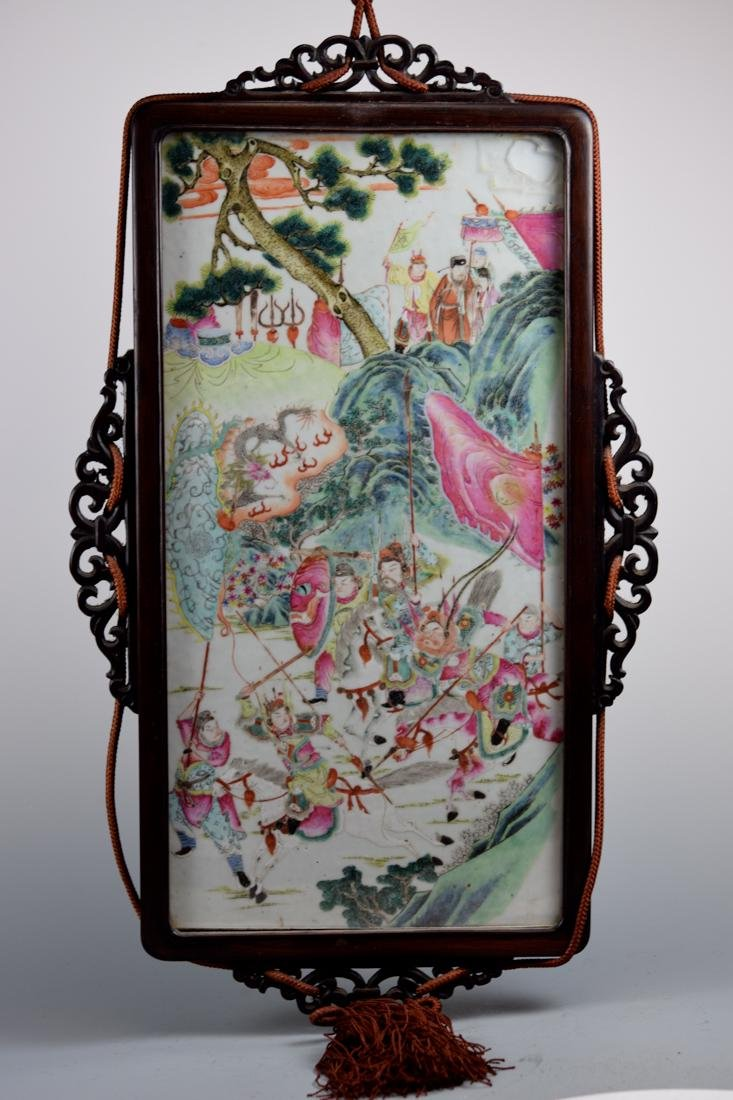 Chinese Porcelain Plaque with Rosewood Frame