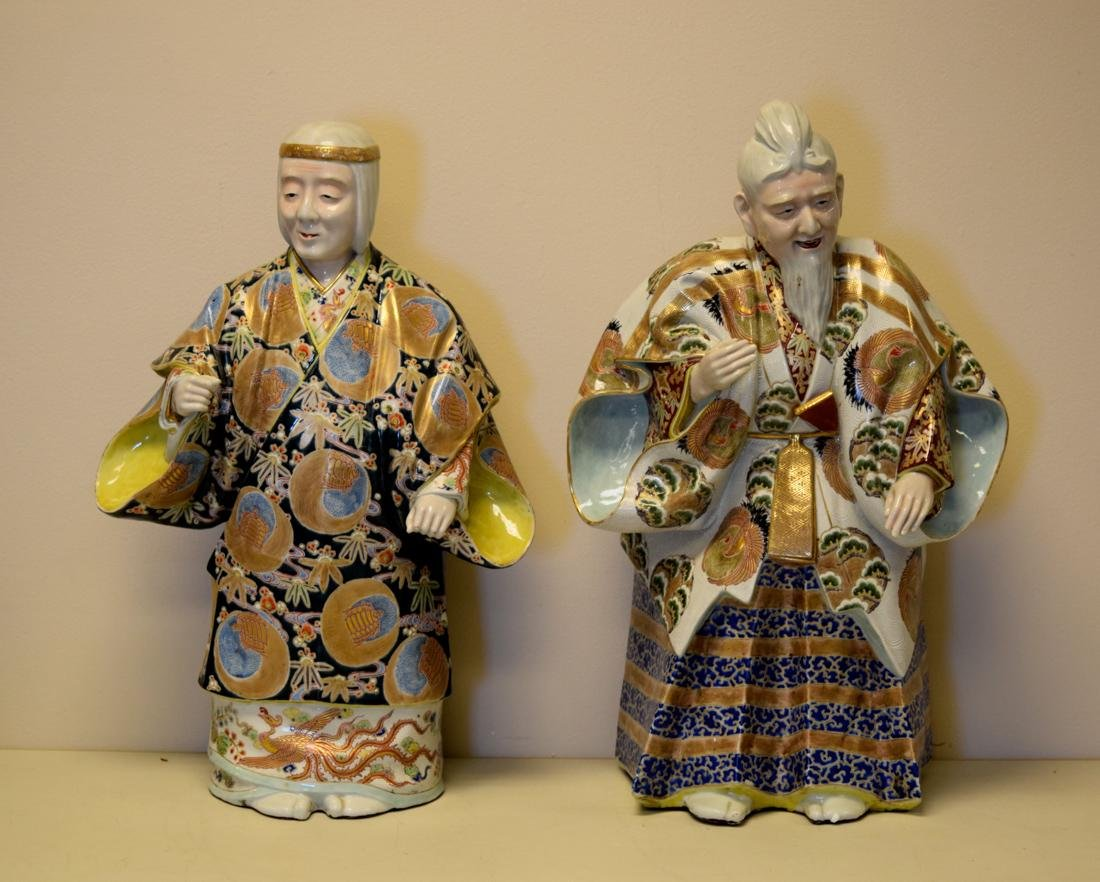 Massive Pair Japanese Kutani Porcelain Figurines