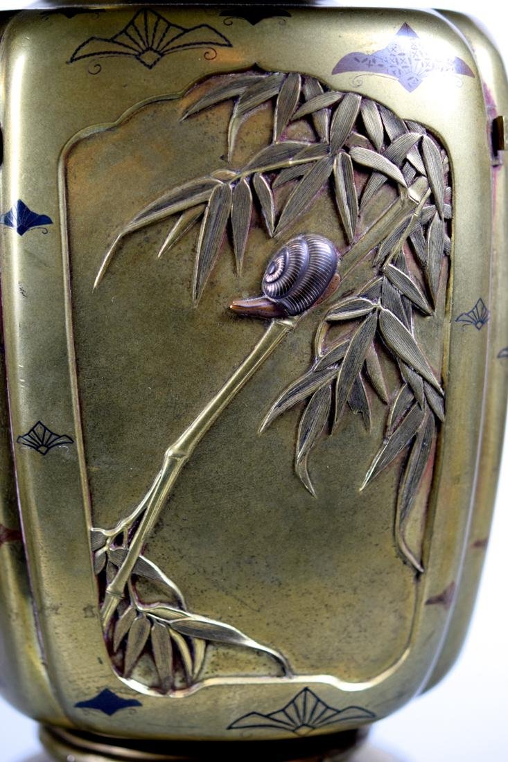 Pair Japanese Mixed Metal Vases - 2