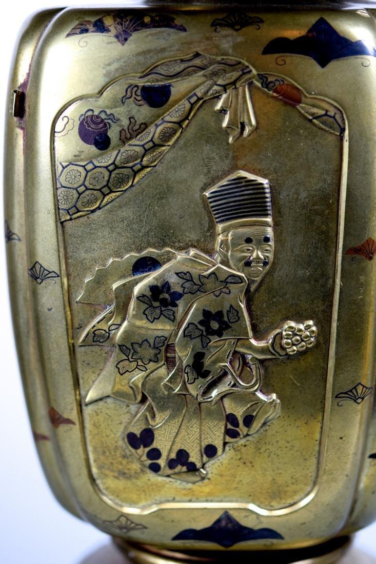Pair Japanese Mixed Metal Vases - 4
