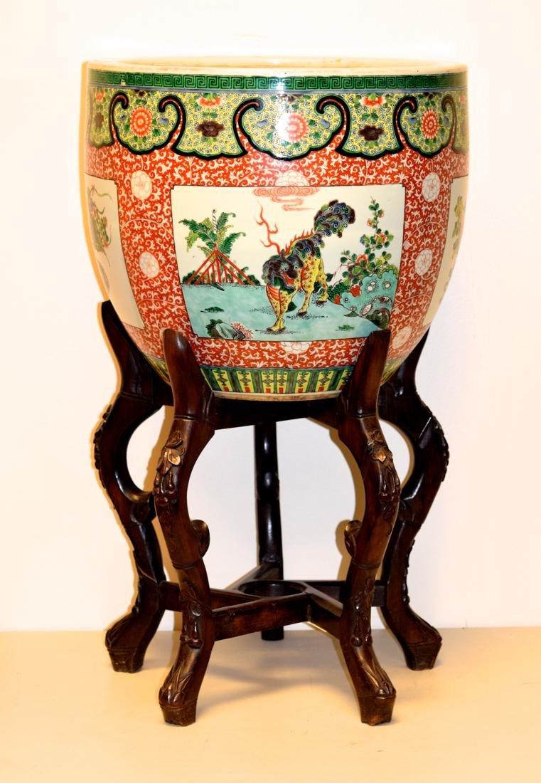 Chinese Famille Verte Porcelain Fish Bowl