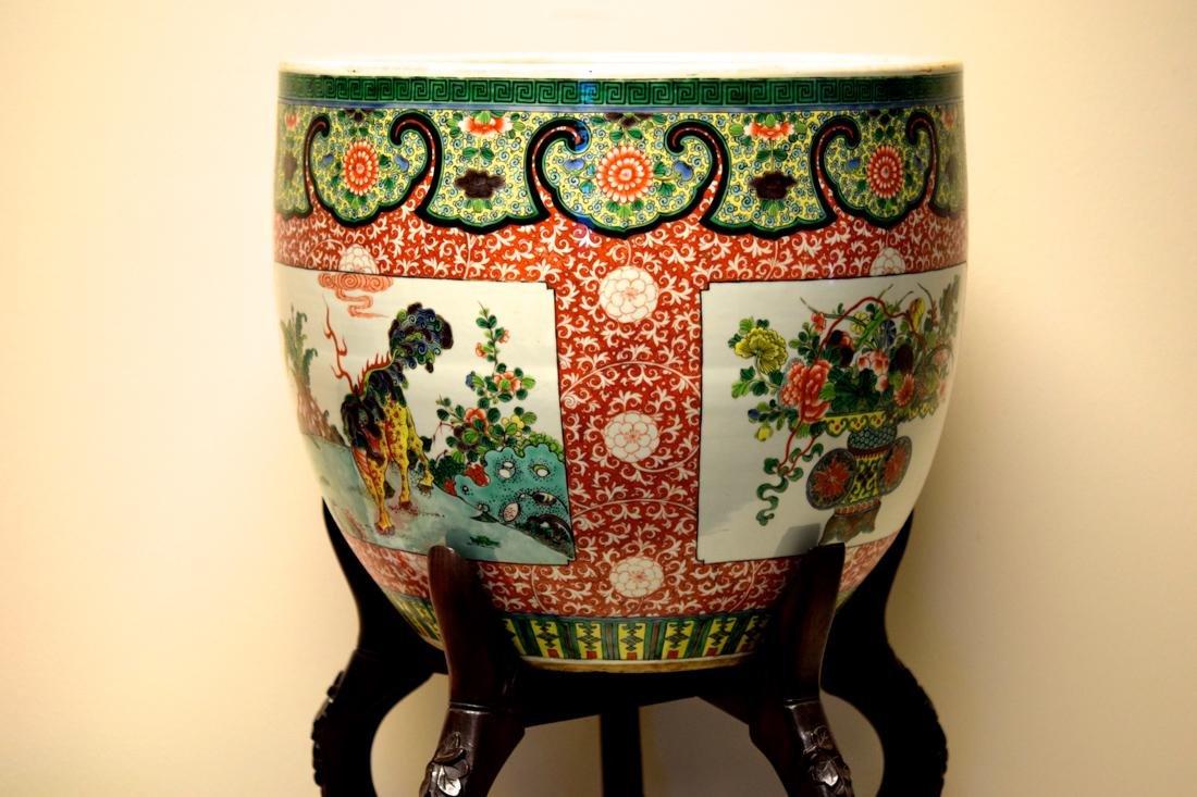 Chinese Famille Verte Porcelain Fish Bowl - 5